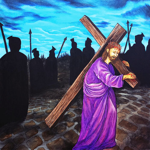 Jesus carrying the cross, surrounded by Roman soilders