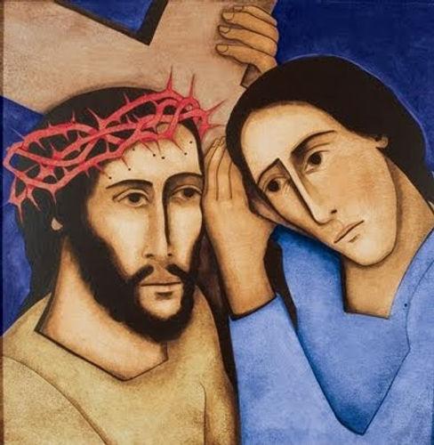 Simon taking the cross from Jesus