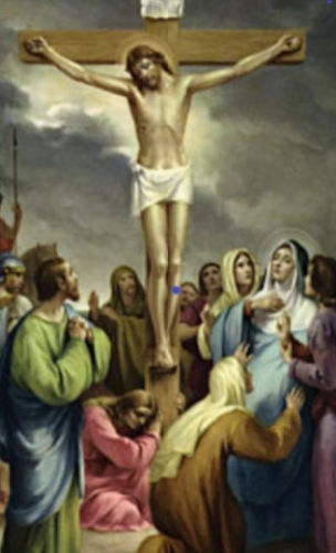 Jesus' mother being comforted as she watches her son hang on the cross