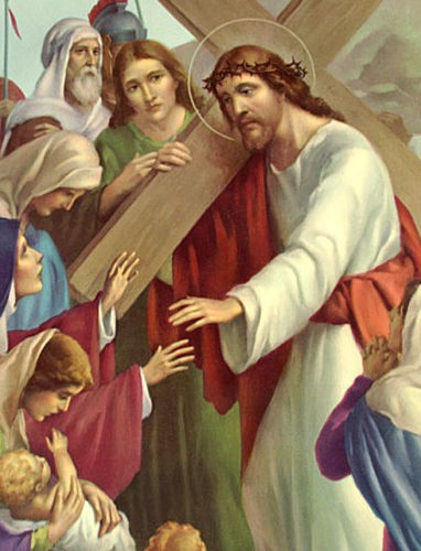 Women weeping as Jesus carries the cross