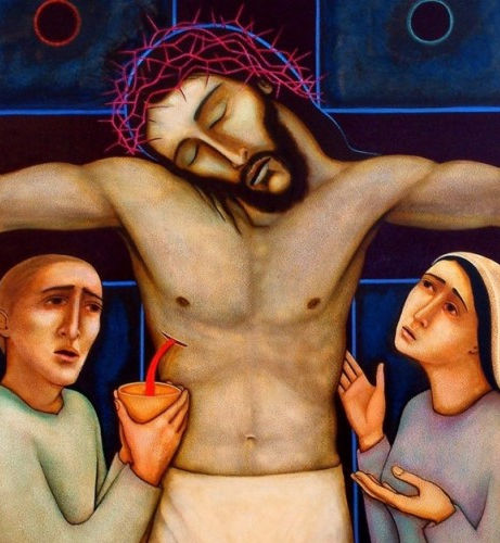 Jesus after his death, his side pierced and bleeding. To his right a man catched his blood in a cup; to his left is a woman.
