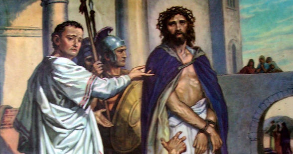 Pilate pointing at Jesus, stood next to two Roman soilders with a crown of thorns on his head