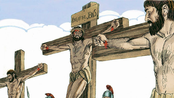 Jesus on the cross with a sign above his head saying: King of the Jews, talking to the thief hung on a cross to his left