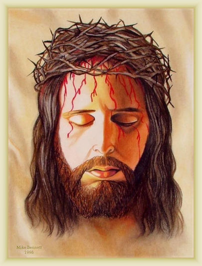 Jesus face dripping with blood from the crown of thorns