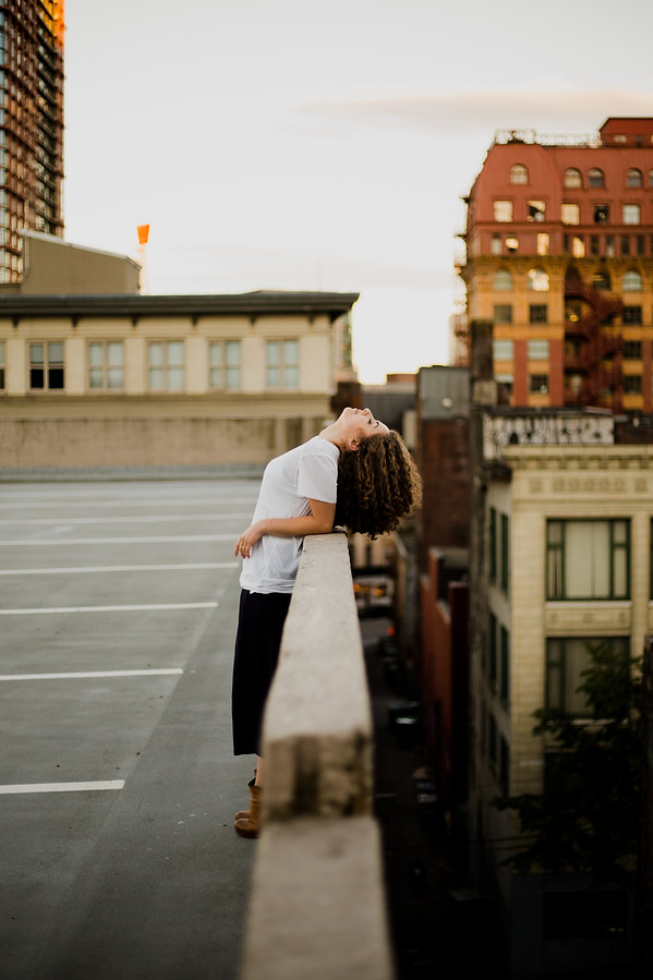 rooftop portrait session in gas town