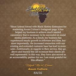 Nilajah Ma'at, Axum Culture 8-16-16