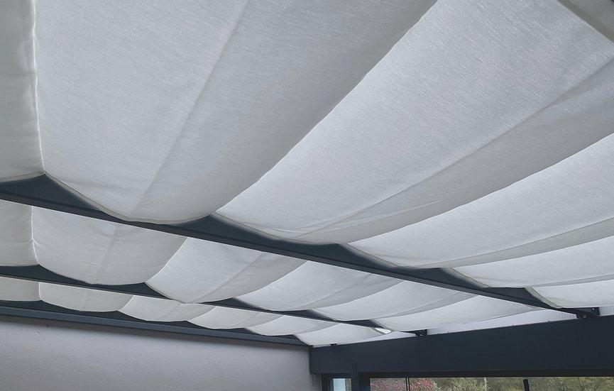 Seilspannmarkise / Raffbeschattung Weiß und Grau Töne
