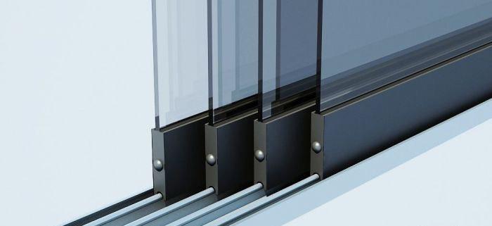 Glasschiebewand 5 Schienen 4900mm breit