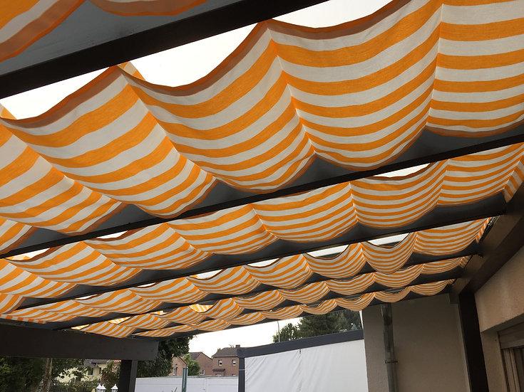 0,94m x 1- 4,7m Raffbeschattung/ Seilspannmarkise Streifen