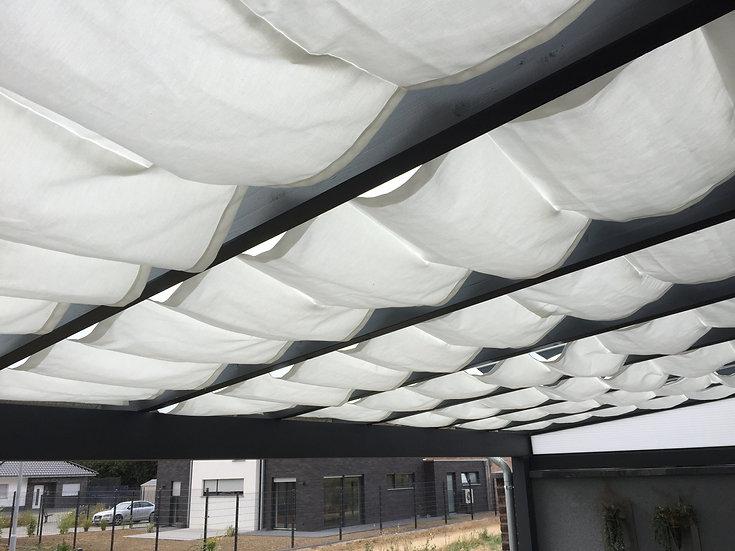 0,70m x 1- 4,7m Raffbeschattung/ Seilspannmarkise Uni Stoffe
