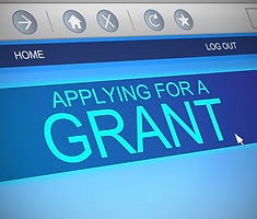 computer screen showing a grant application