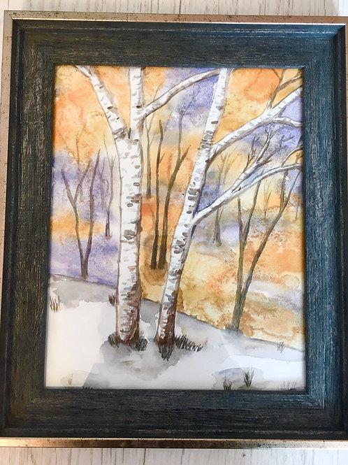 Winter trees original watercolour