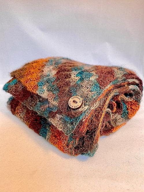 Teal, amber & chestnut scarf