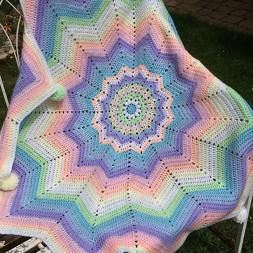 Pastel star pompom blanket