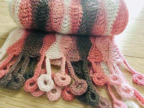 Pale rose, cream and mushroom scarf