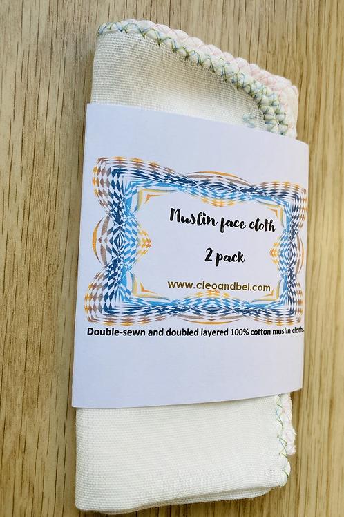 100% Cotton Muslin Face Cloths - 2 pack