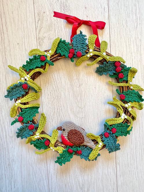 Christmas robin & holly wreath