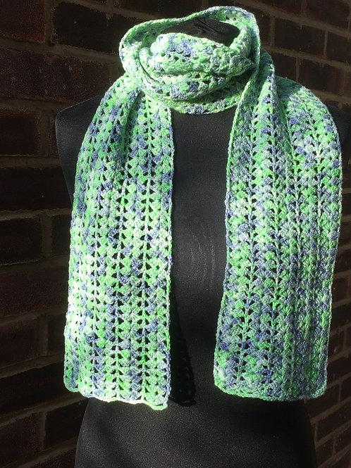 Lacy Green Scarf in superfine merino wool