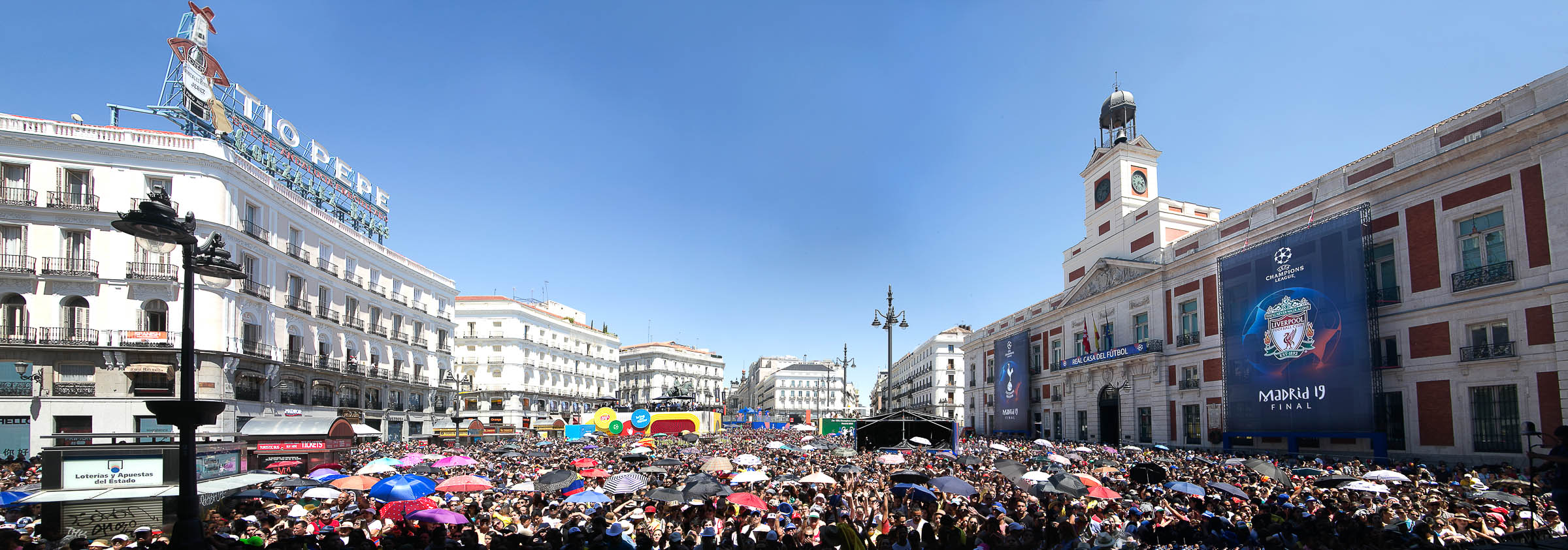 Panoramic photography uefa puerta del sol madrid