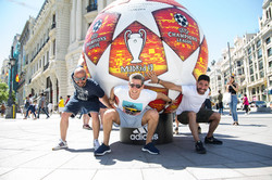 Football in front of Metropolis Building Madrid 2019