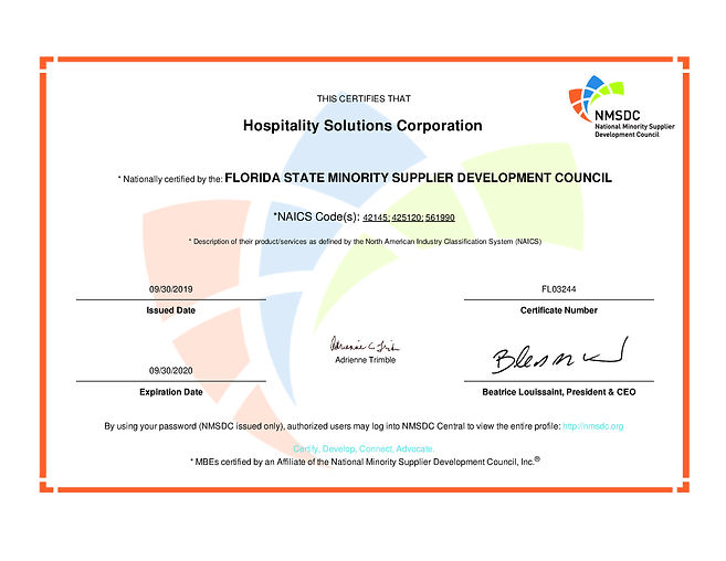 FSMSDC MBE Certification for Hospitality