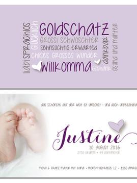 Geburtskarte Justine - willkommen unser Goldschatz