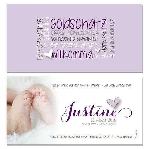 Geburtskarte Justine