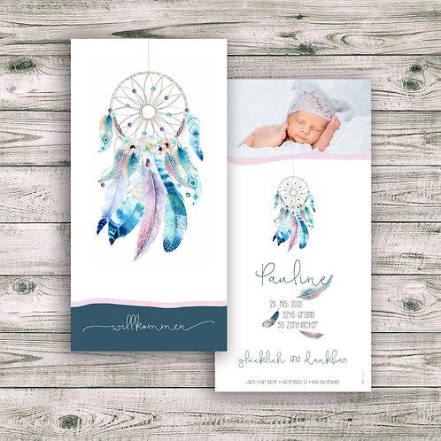 Geburtskarte Pauline mit Folienprägung