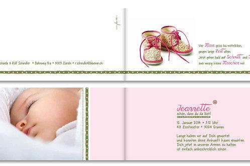 Geburtskarte Jeanette