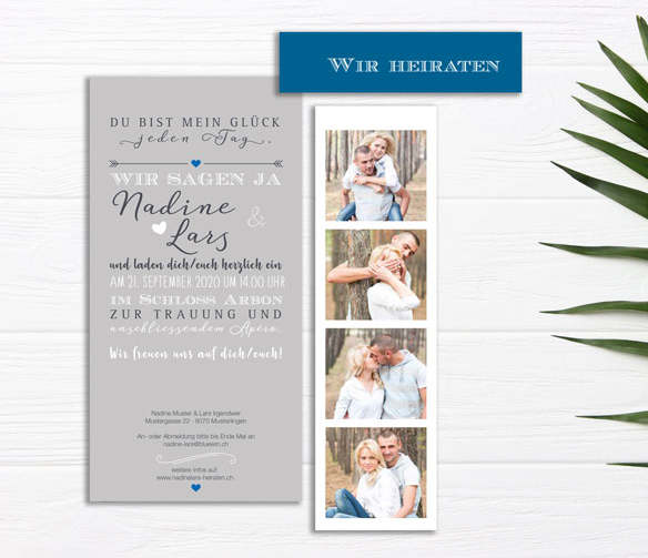 Hochzeitseinladung mit Herz für Ihre Traumhochzeit