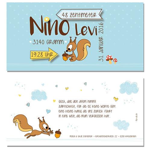 Geburtskarte Nino Levi