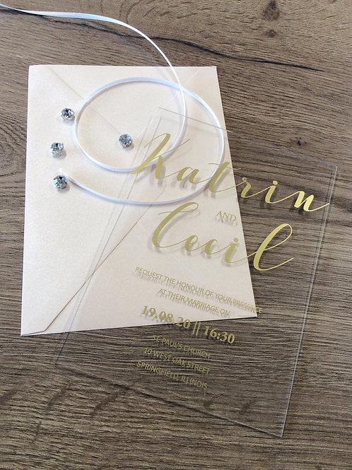 Hochzeitskarte Acryl mit Siebdruck
