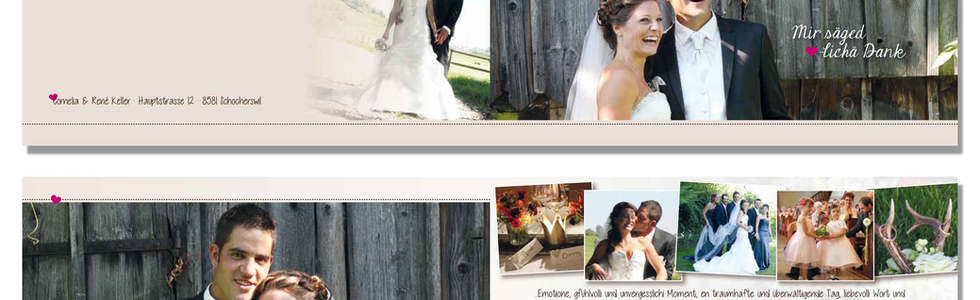 Individuelle Dankeskarten Hochzeit gestalten l online l Schweiz