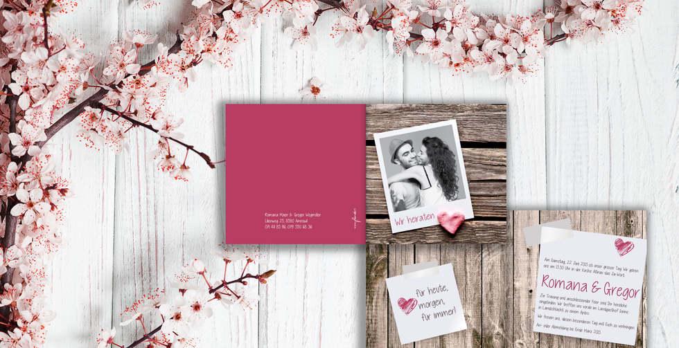 Individuelle Hochzeitskarten gestalten, Hochzeitskarte Romana-Gregor l online l Schweiz