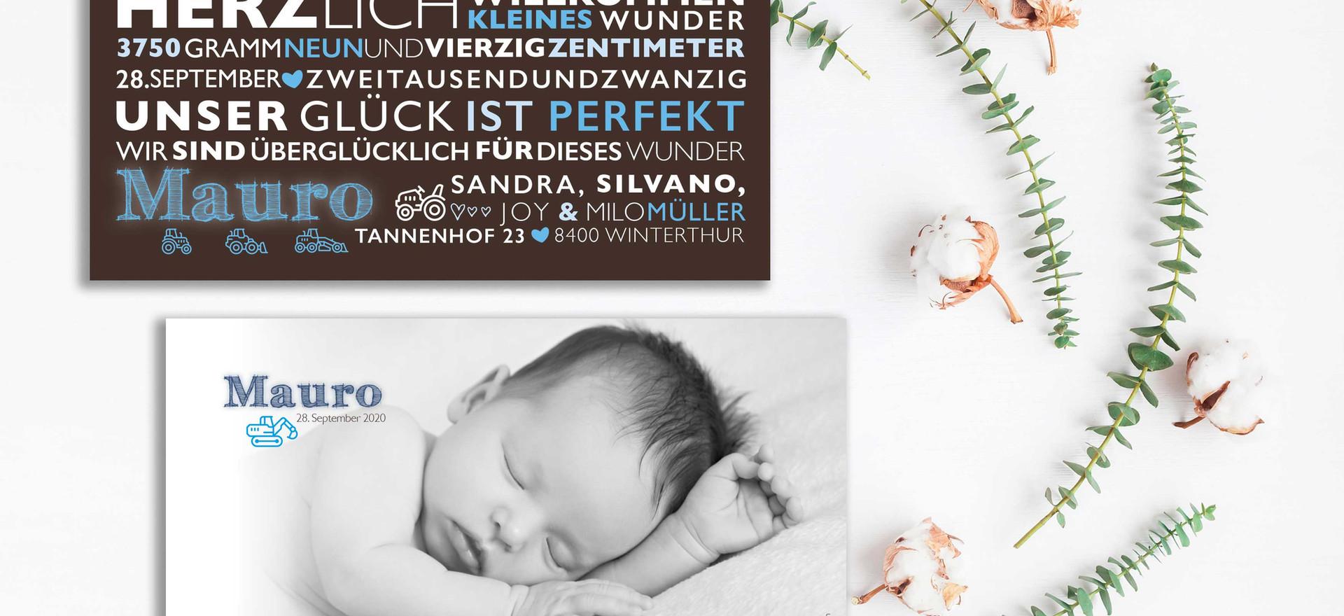liebevoll gestaltete Geburtskarten online bestellen Schweiz