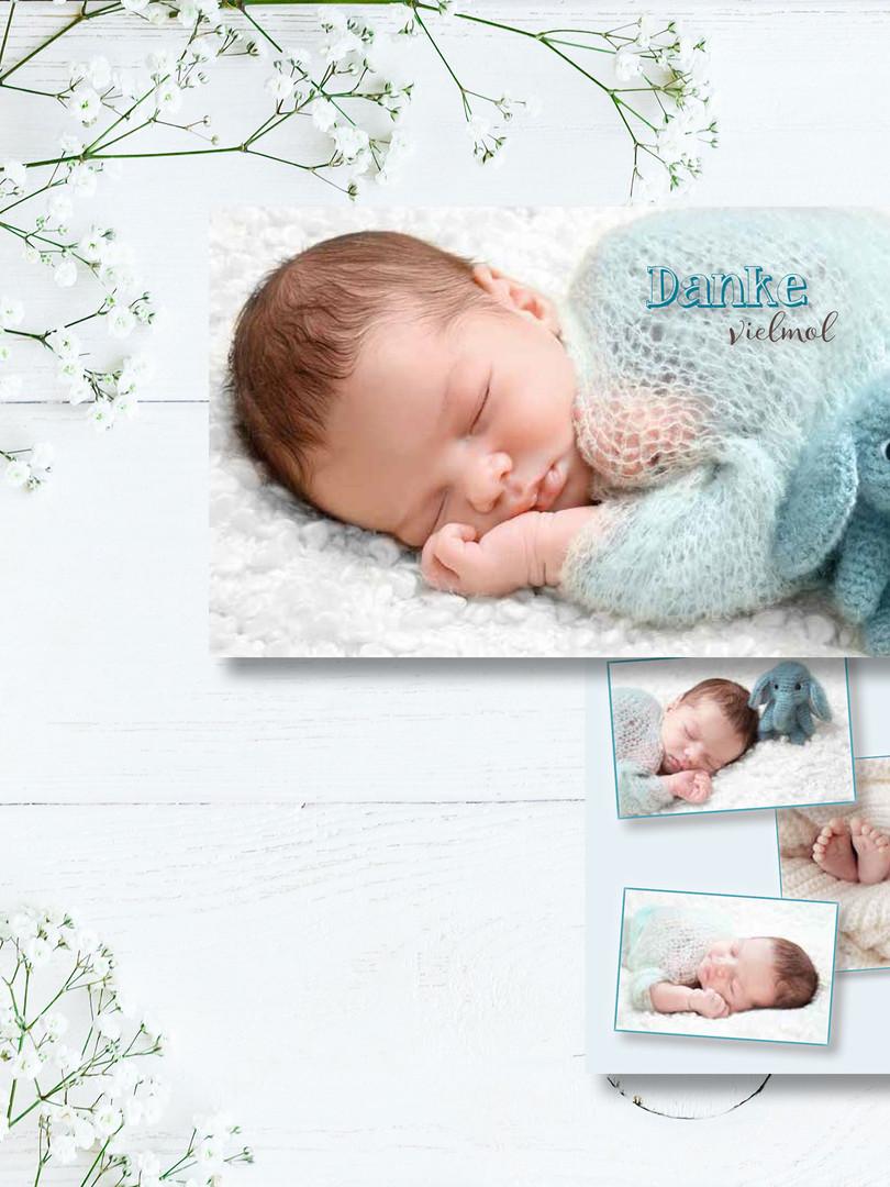 süsse Dankeskarte zur Geburt