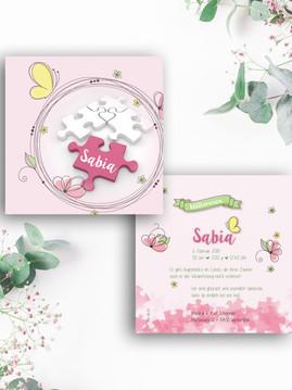 Geburtskarte Sabia - Puzzle komplett