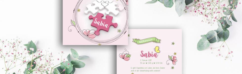 Geburtskarten, Hochzeitskarten, Geburtskarte Sabia  | Schweiz | online bestellen