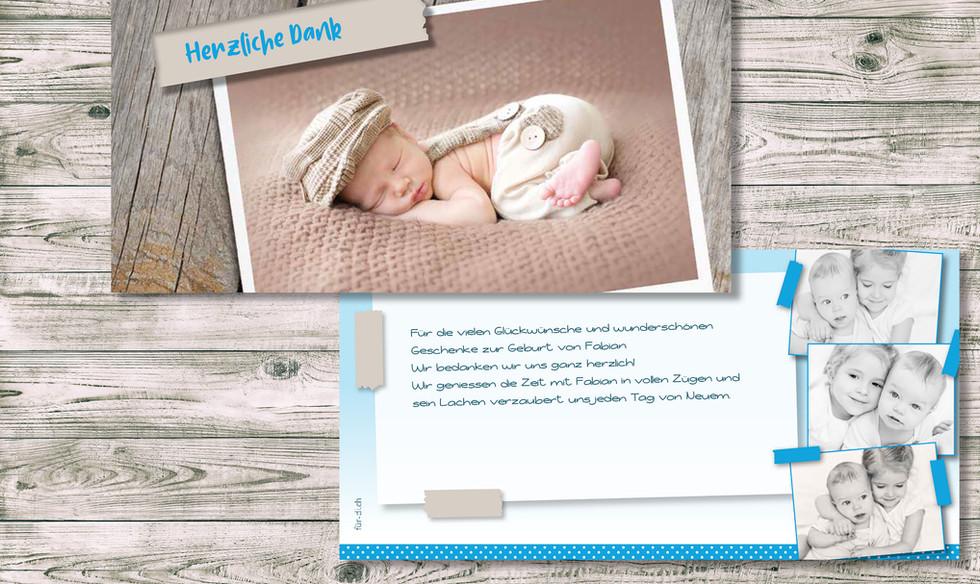 Geburtskarten, Hochzeitskarten, Dankeskarten, Dankeskarte Fabian  | Schweiz | online bestellen