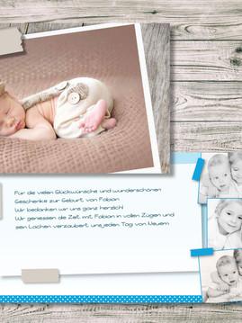 Lassen Sie Bilder sprechen für Ihre Dankeskarte zur Geburt