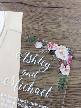 romantische Hochzeitskarten auf Acryl