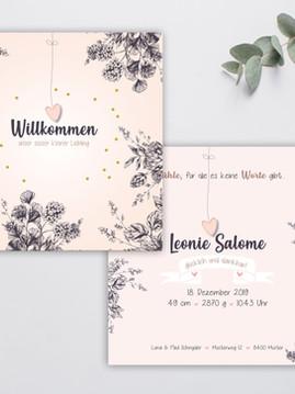 Geburtskarte Leonie - willkommen bein uns