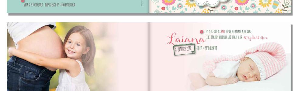 Geburtskarten, Hochzeitskarten, Geburtskarte Laiana  | Schweiz | online bestellen
