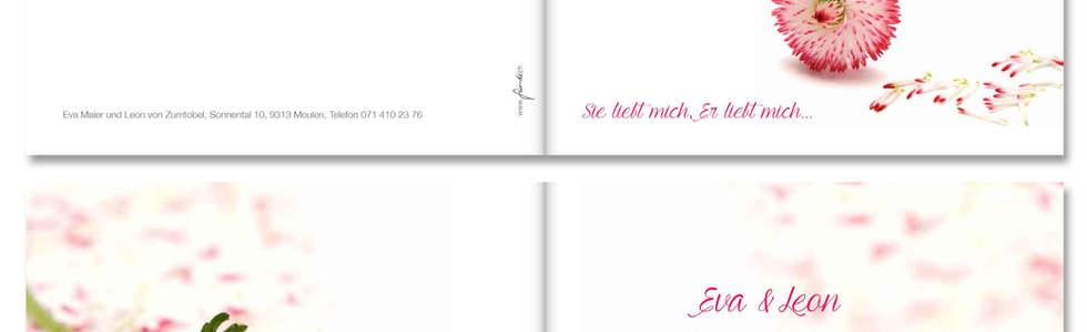 Individuelle Hochzeitskarten gestalten, Hochzeitskarte Eva-Leon l online l Schweiz