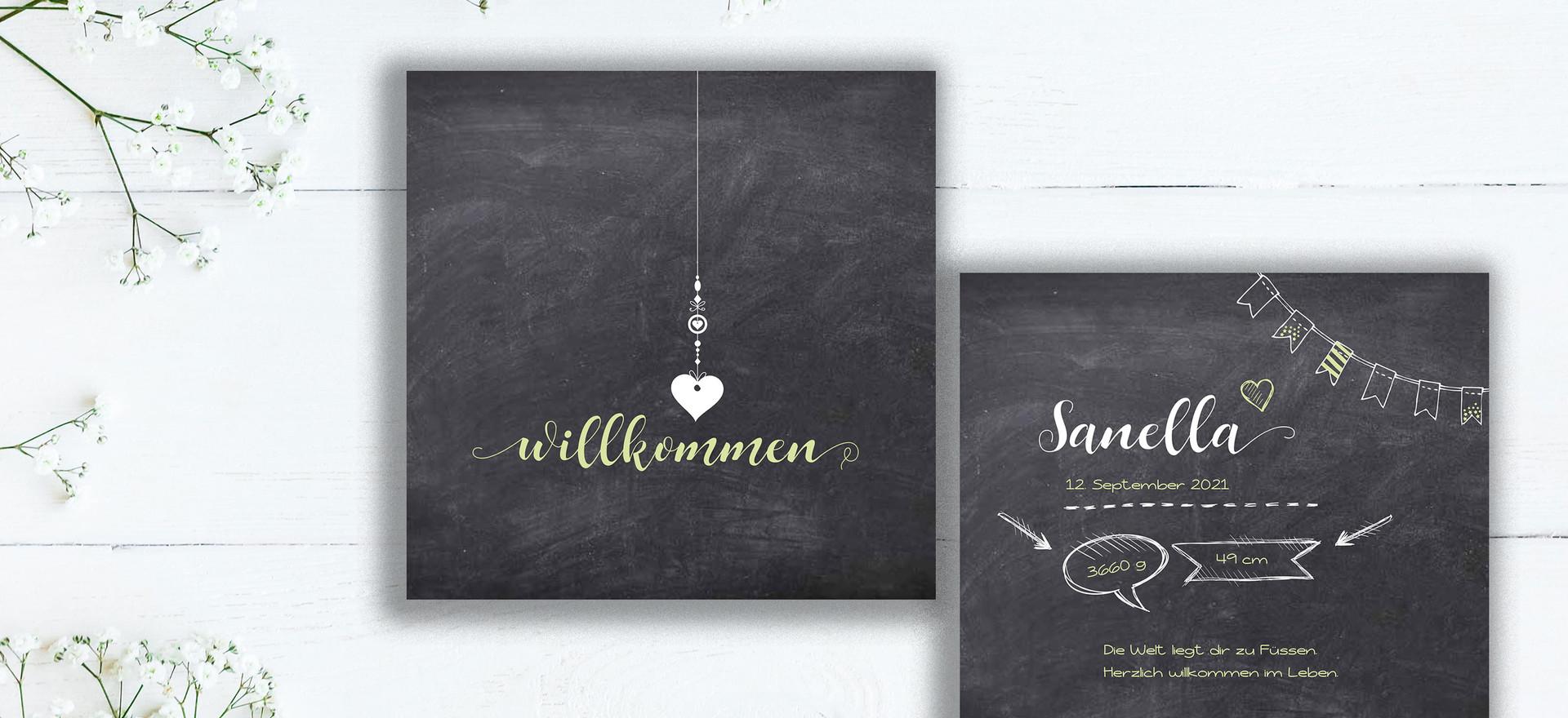 Geburtskarten, Hochzeitskarten, Geburtskarte Sanella  | Schweiz | online bestellen