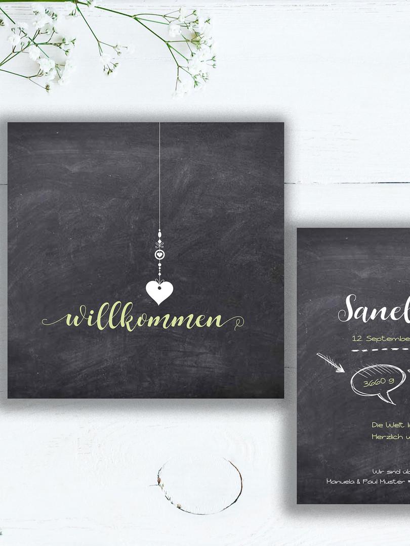 Geburtskarte Sanella - trendy mit Chalkboard-Design