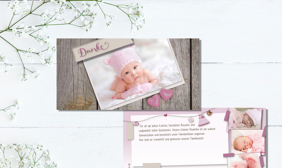 Geburtskarten, Hochzeitskarten, Dankeskarten, Dankeskarte Chamilla  | Schweiz | online bestellen