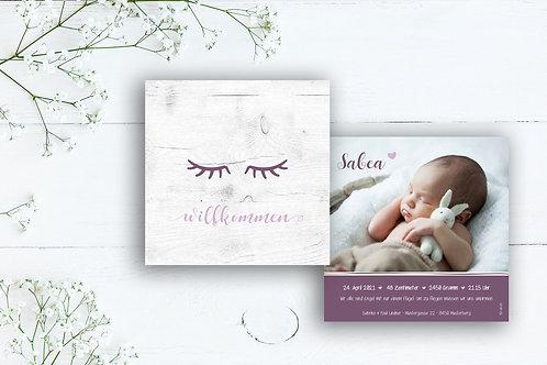 Geburtskarte Sabea mit Folienprägung