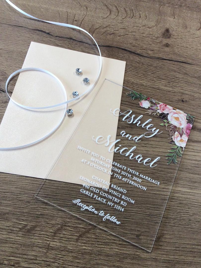 Hochzeitseinladung auf Acryl