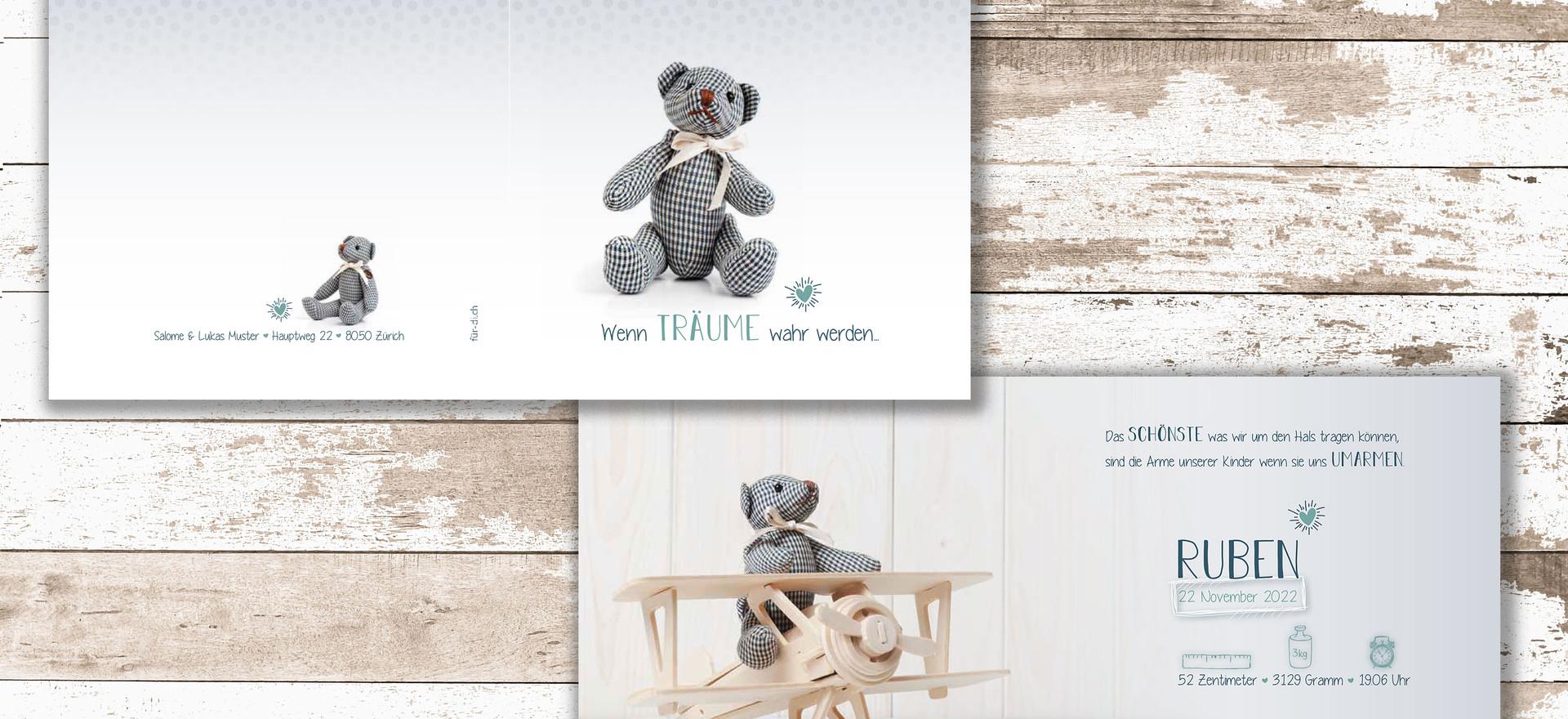 Geburtskarten, Hochzeitskarten, Geburtskarte Ruben  | Schweiz | online bestellen
